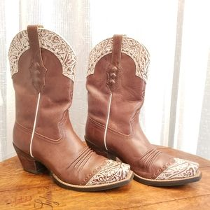 Ariat Cowgirl Boots Brown with Cream Scrolling